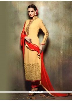 Fashionable Yellow Embroidered Work Georgette Churidar Designer Suit