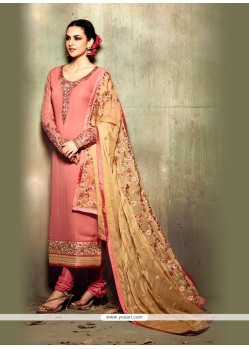 Grandiose Georgette Pink Resham Work Churidar Designer Suit