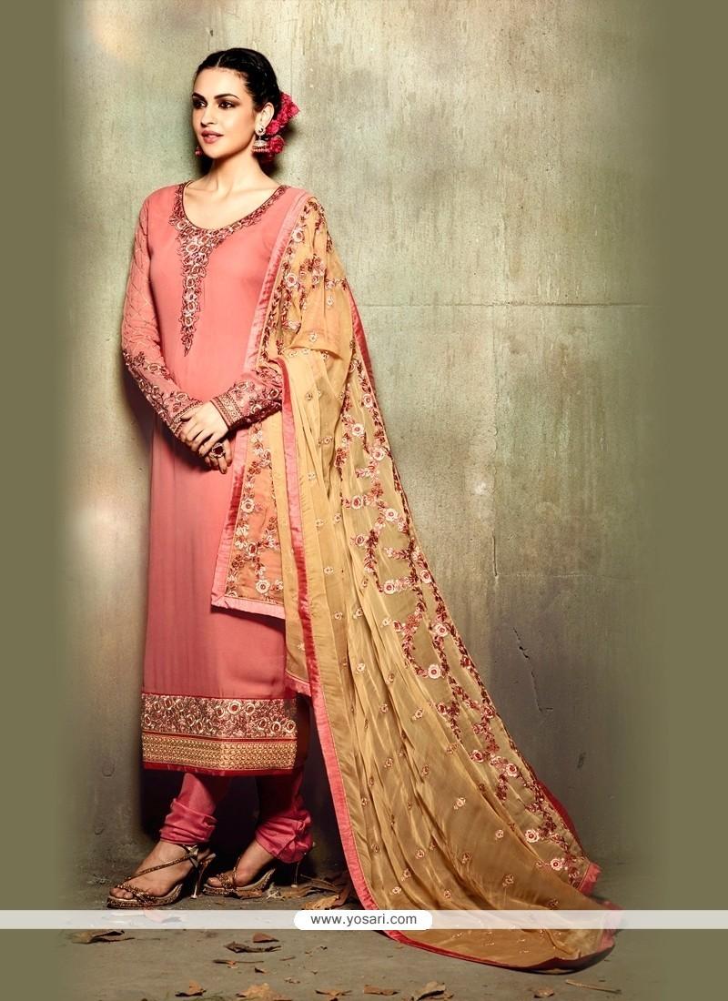 Grandiose Georgette Pink Resham Work Churidar Designer Suit