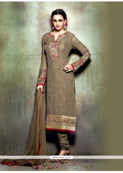 Bedazzling Georgette Brown Churidar Designer Suit
