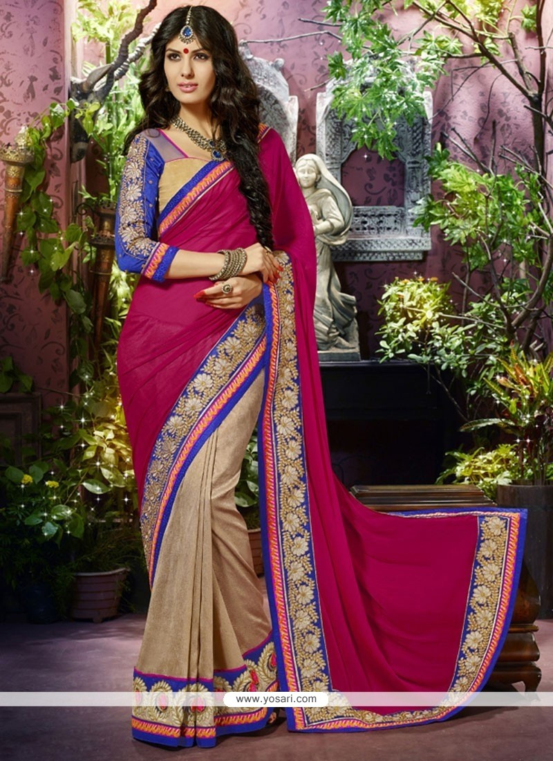 Beauteous Pink And Cream Chiffon Designer Saree