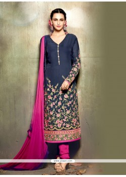 Fab Embroidered Work Georgette Navy Blue Churidar Designer Suit