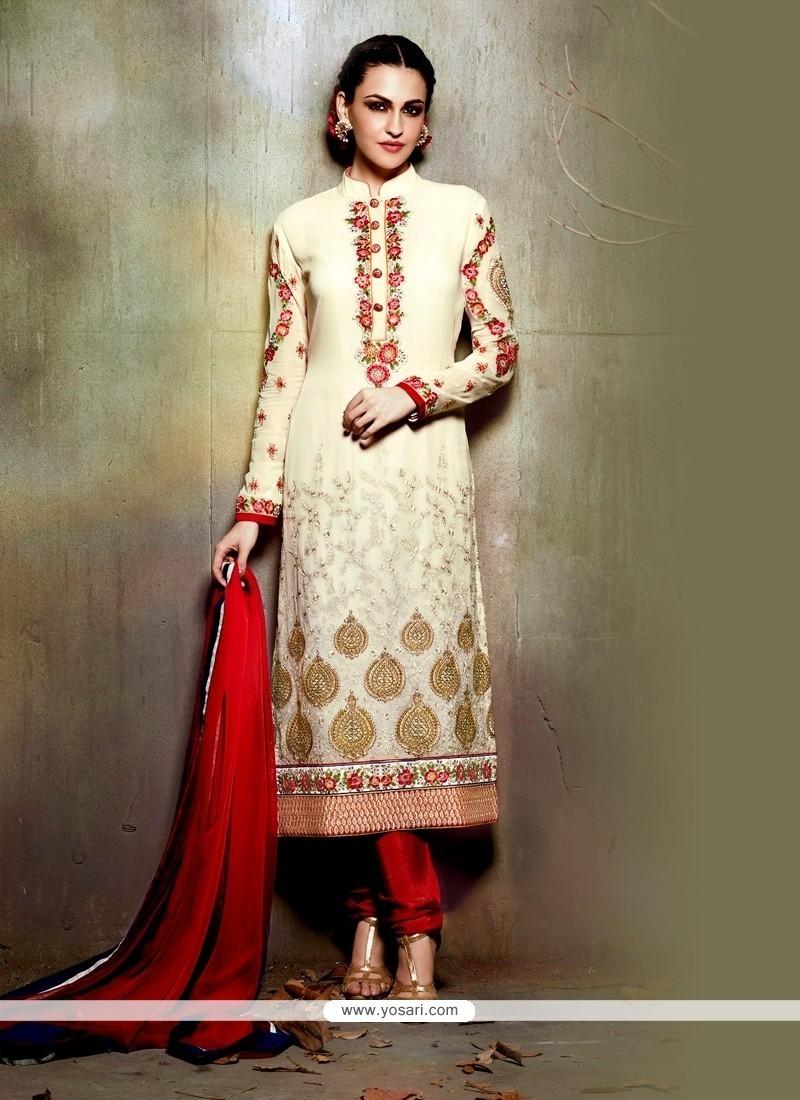 Princely Cream Embroidered Work Georgette Churidar Designer Suit