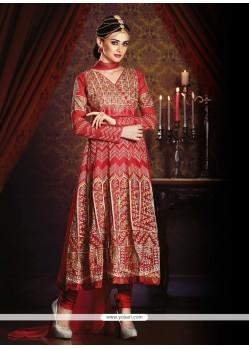 Beckoning Embroidered Work Red Anarkali Salwar Kameez