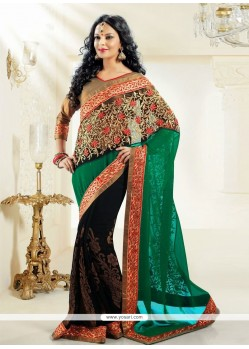 Genius Green And Black Net Designer Saree