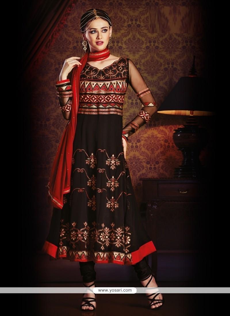 Arresting Georgette Black Resham Work Anarkali Salwar Kameez