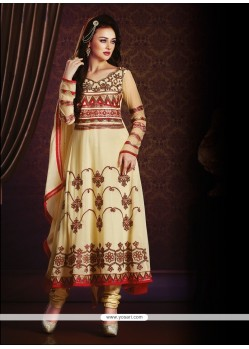 Delightsome Embroidered Work Cream Anarkali Salwar Kameez