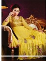 Simplistic Resham Work Yellow Net Anarkali Salwar Kameez