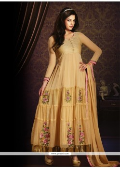 Enticing Resham Work Beige Georgette Anarkali Salwar Kameez