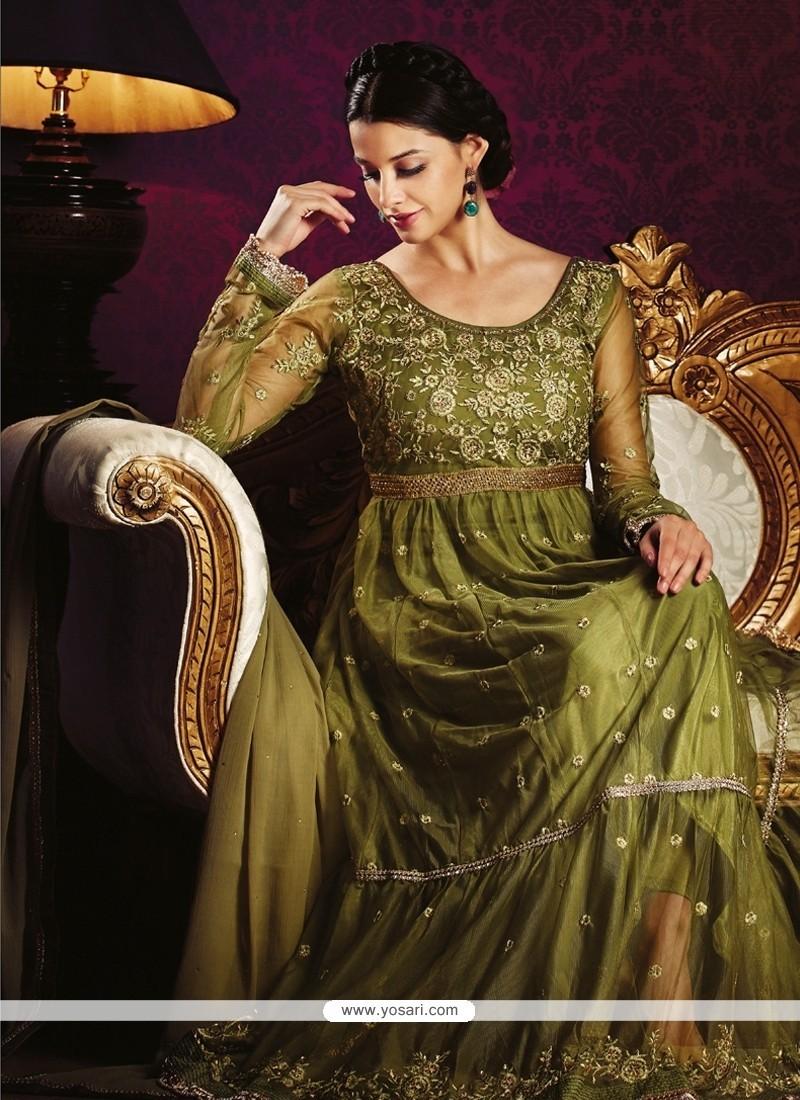 Fine Green Anarkali Salwar Kameez