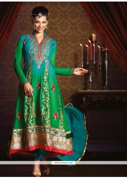 Beguiling Embroidered Work Green Anarkali Salwar Kameez