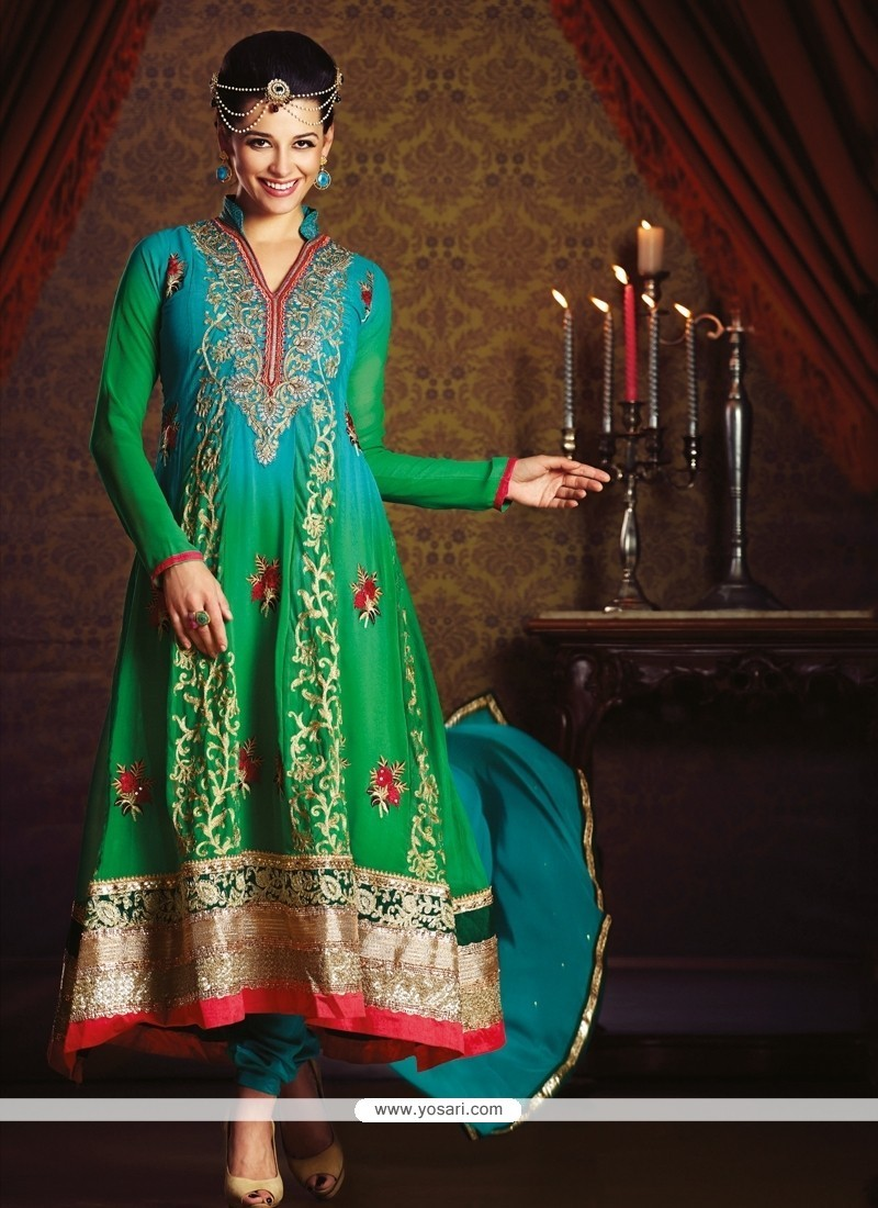 Beguiling Embroidered Work Green Anarkali Salwar Kameez