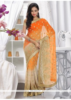 Modern Orange and Beige Shaded Faux Chiffon Saree