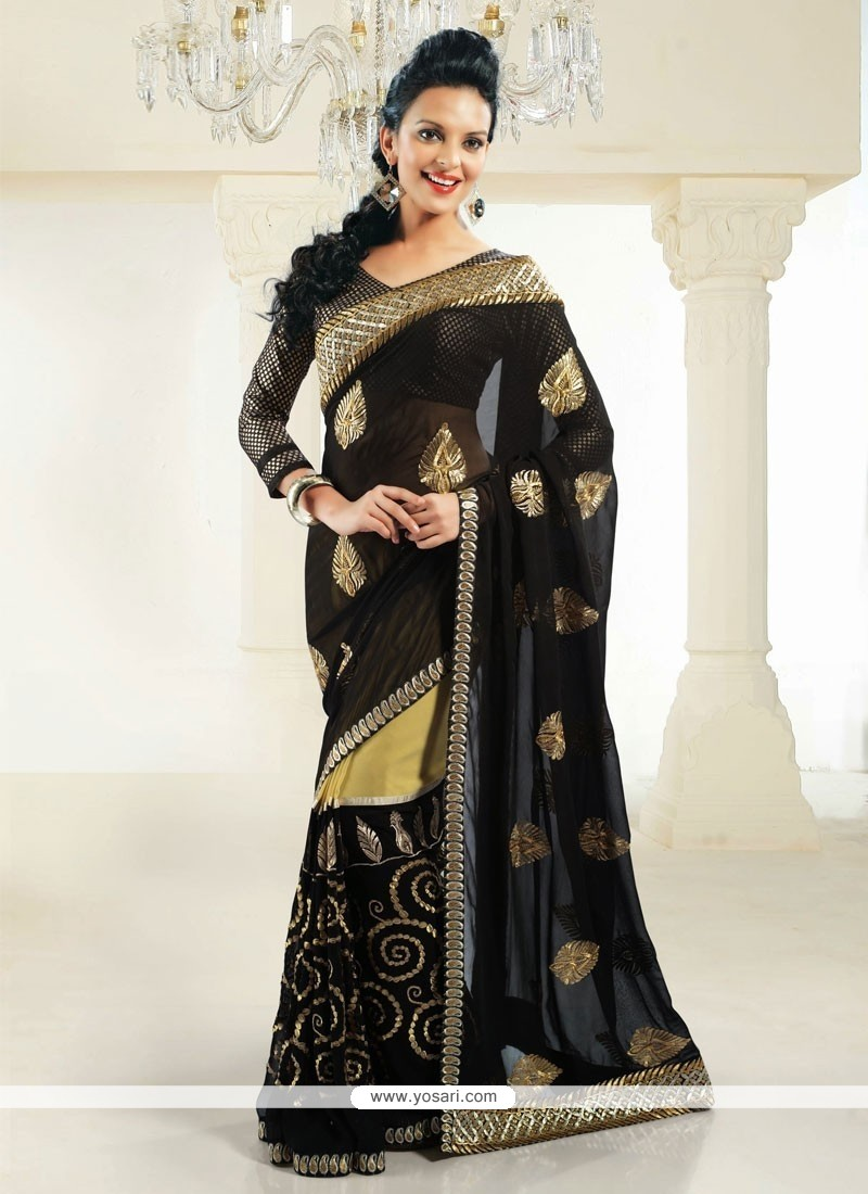Black Zari Work Faux Georgette Saree