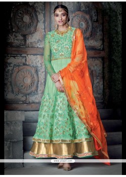 Ethnic Embroidered Work Sea Green Anarkali Salwar Kameez