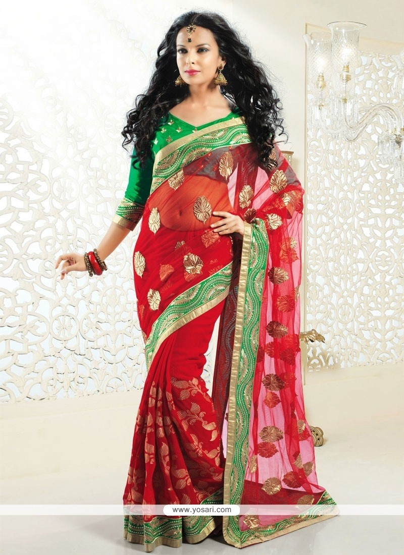 Dazzling Red Jacquard Half And Half Saree