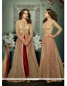 Latest Beige And Maroon Embroidered Work Net Designer Suit
