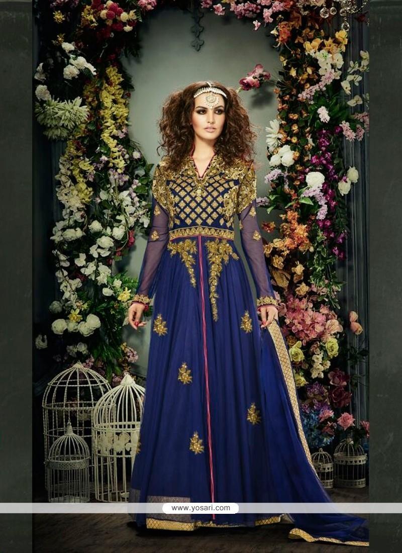 Lively Embroidered Work Blue Banglori Silk Anarkali Salwar Kameez