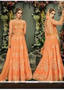 Exuberant Orange Banglori Silk Anarkali Salwar Kameez