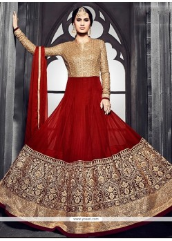 Lustre Georgette Red Anarkali Salwar Kameez