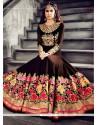 Captivating Georgette Brown Anarkali Salwar Kameez