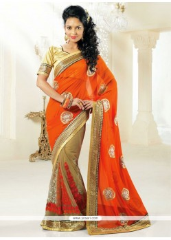 Beige And Orange Shaded Net Half And Half Saree