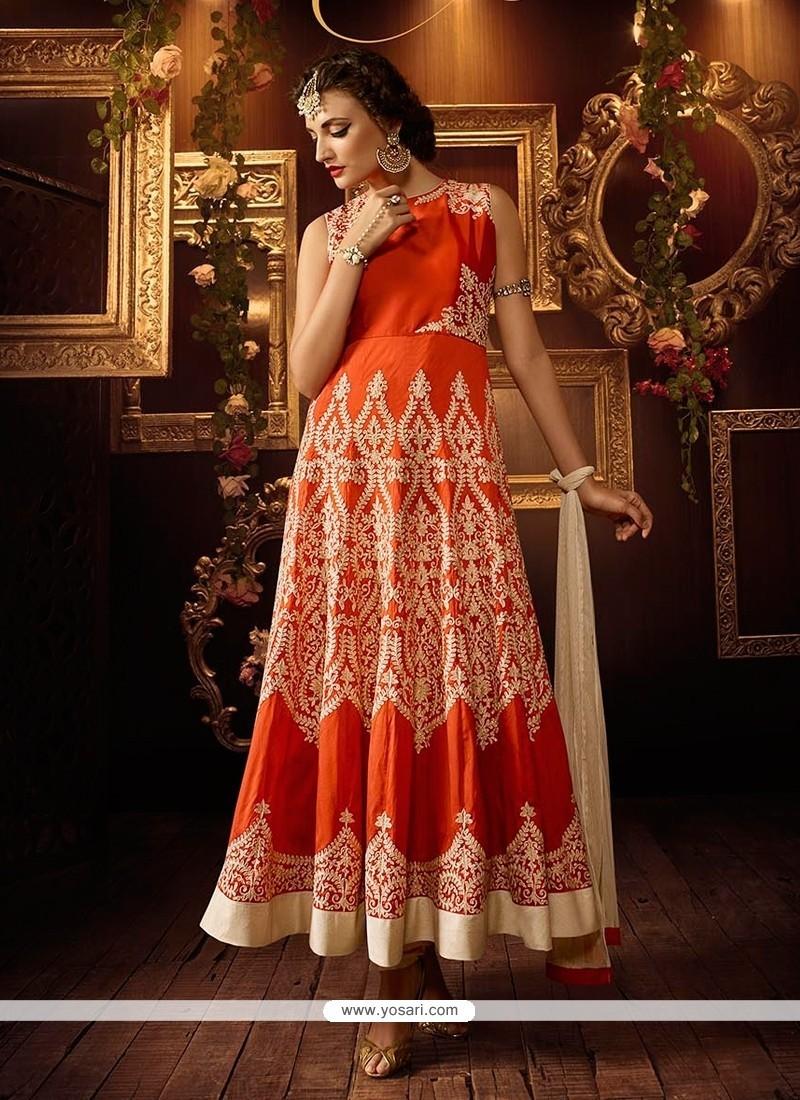 Bewitching Silk Orange Anarkali Salwar Kameez