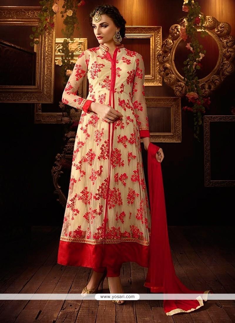 Astonishing Embroidered Work Red Net Anarkali Salwar Kameez