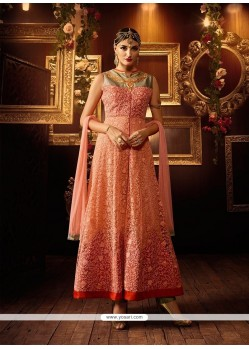 Prodigious Peach And Pink Silk Anarkali Salwar Kameez