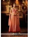 Prodigious Peach And Pink Silk Anarkali Salwar Kameez