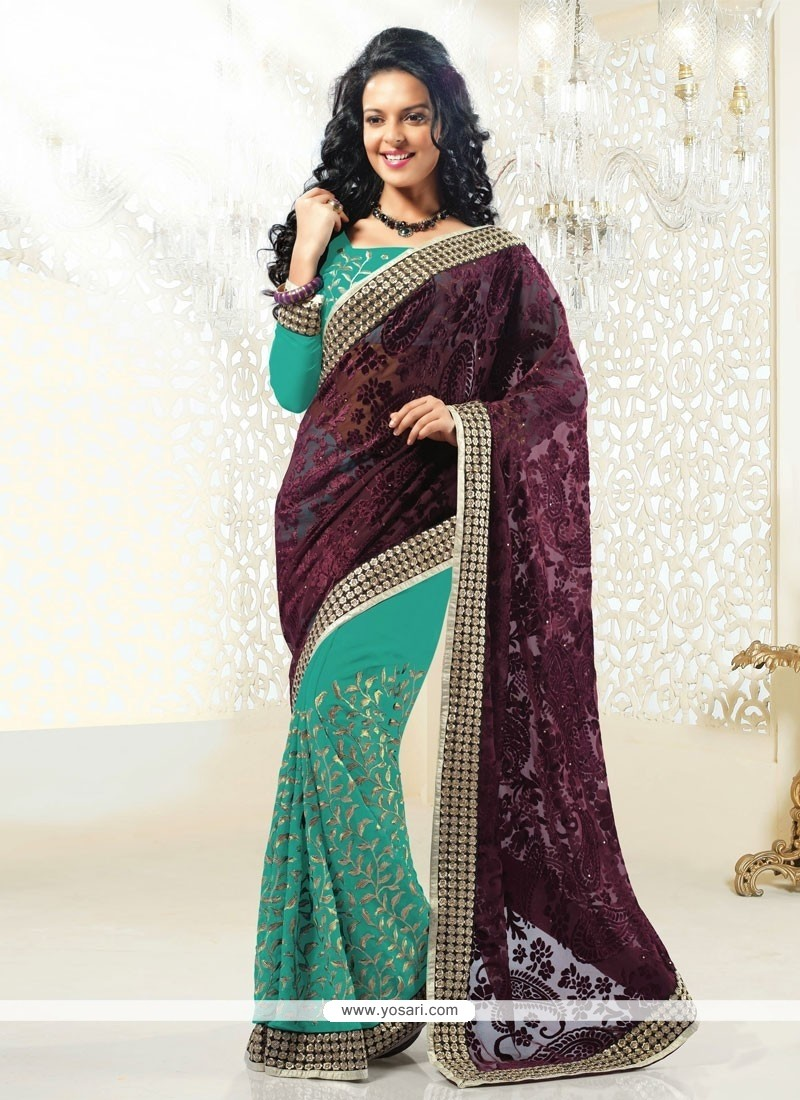 Turquoise And Wine Faux Georgette Half And Half Saree