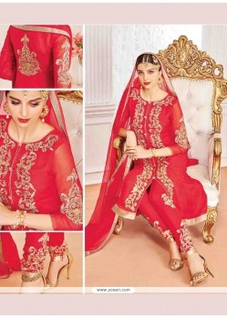 Titillating Embroidered Work Georgette Red Designer Suit