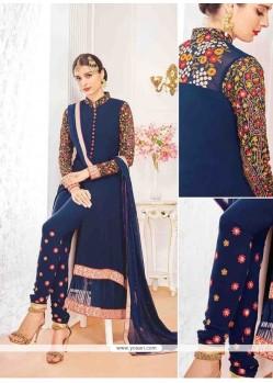 Navy Blue Georgette Designer Suit