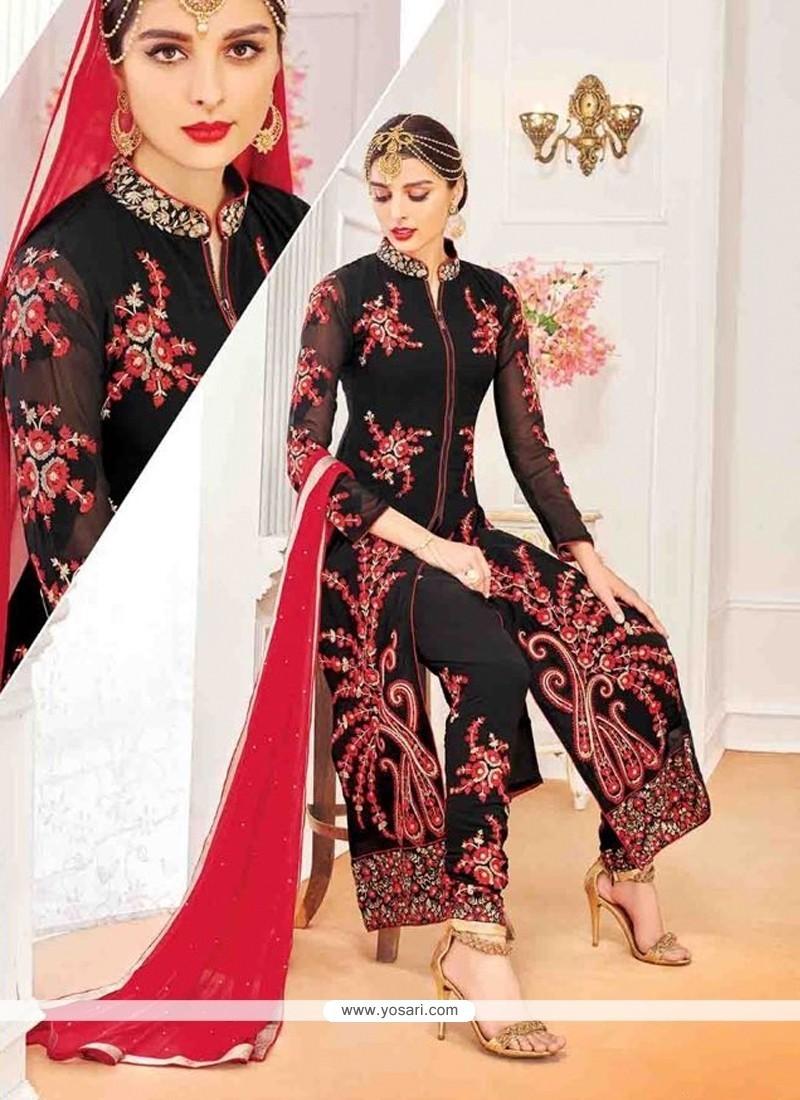Amazing Georgette Black Designer Suit