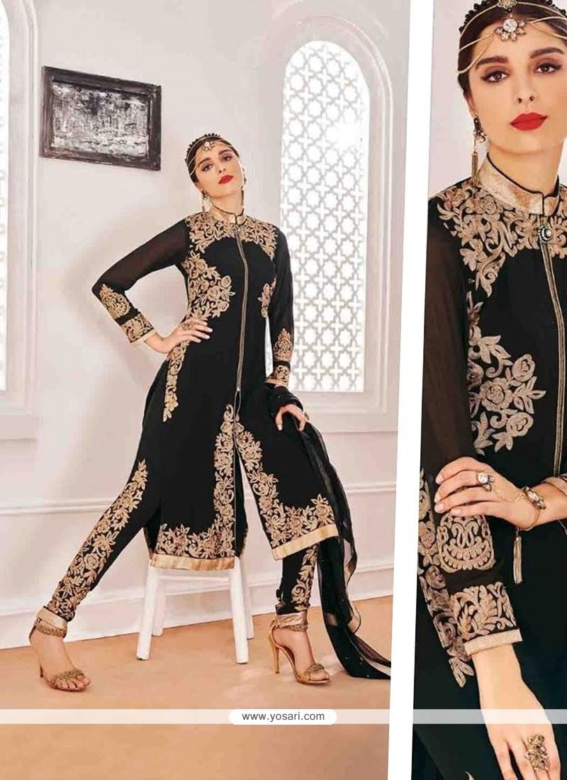 Fabulous Georgette Black Designer Suit