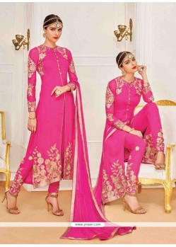 Capricious Hot Pink Embroidered Work Designer Suit