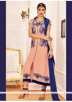 Pleasing Embroidered Work Peach Georgette Designer Suit