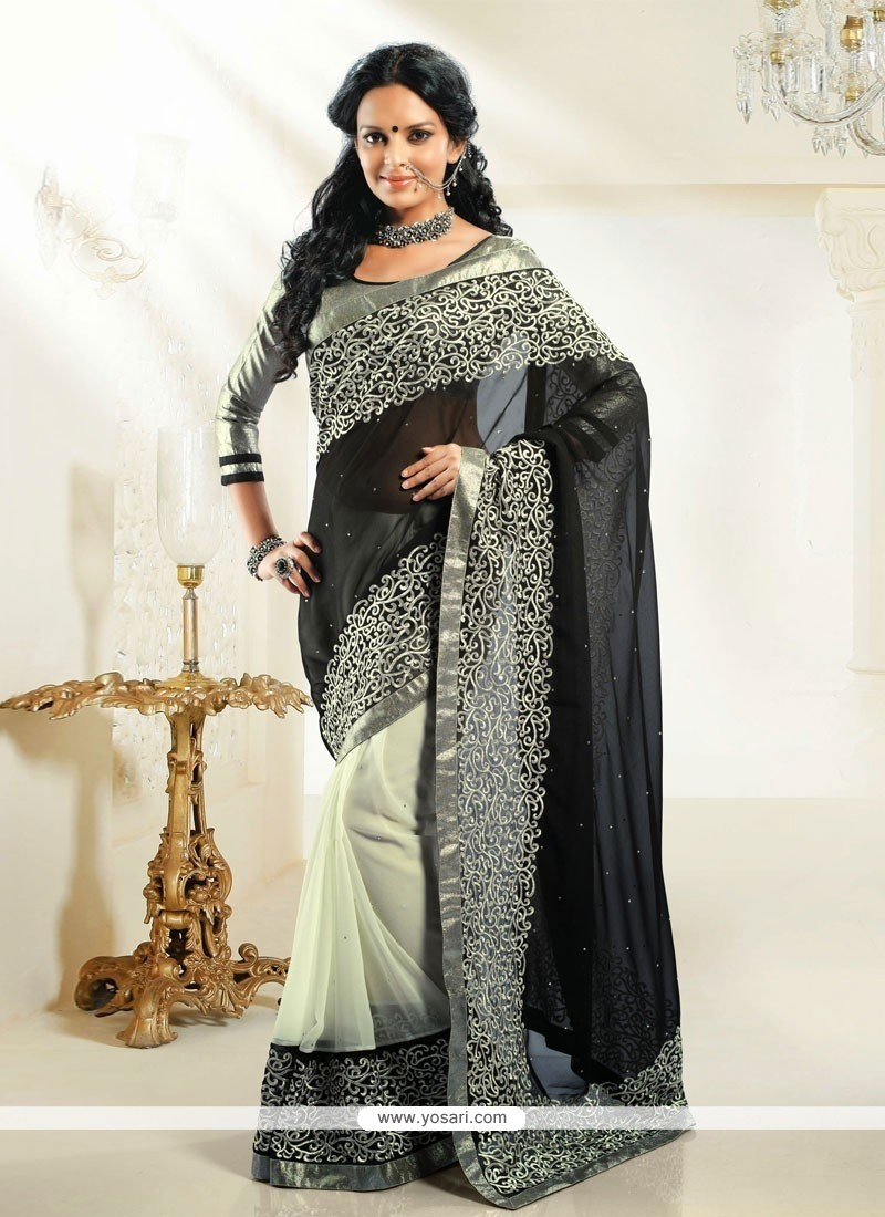 Off White And Black Shaded Georgette Saree