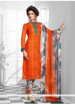 Delightful Orange Print Work Cotton Designer Suit