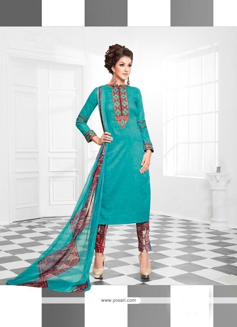 Vivid Turquoise Print Work Designer Suit