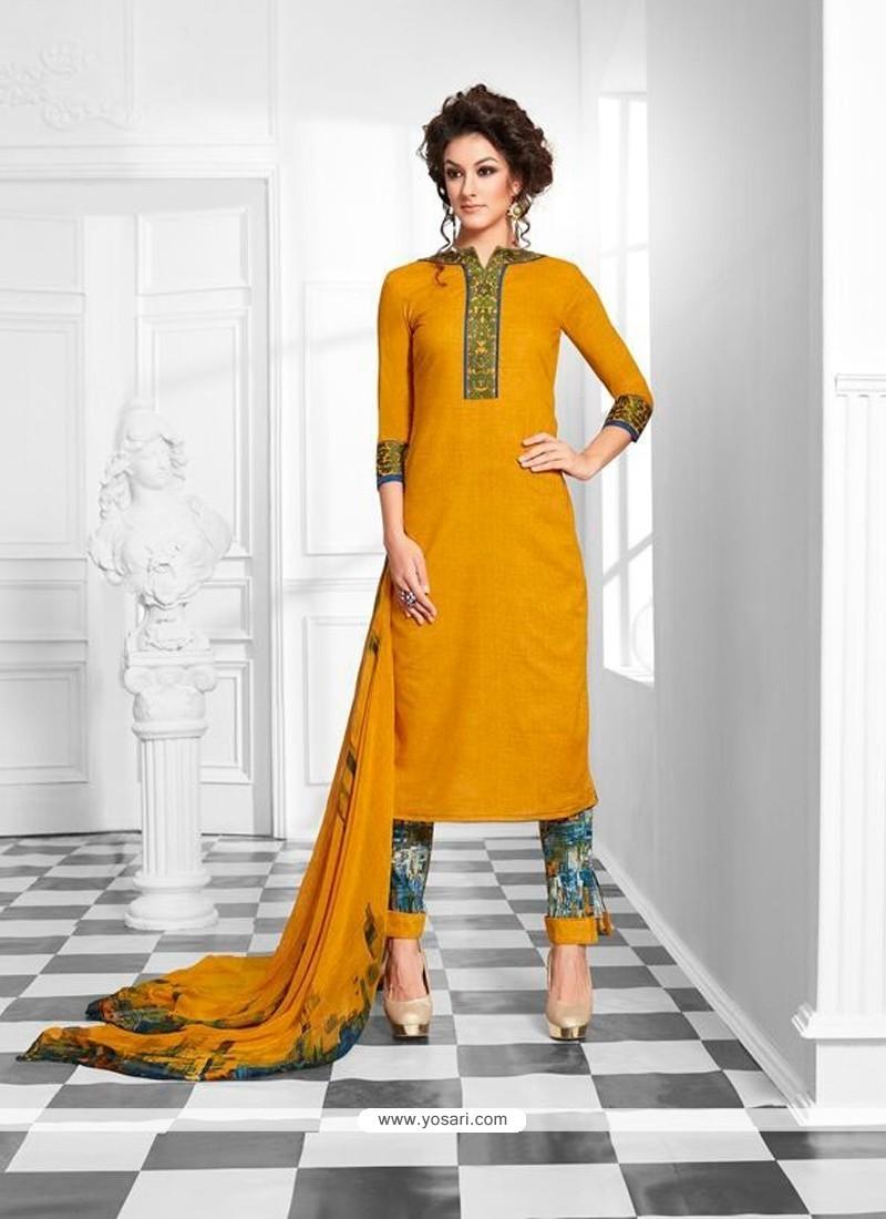 Enthralling Yellow Print Work Designer Suit