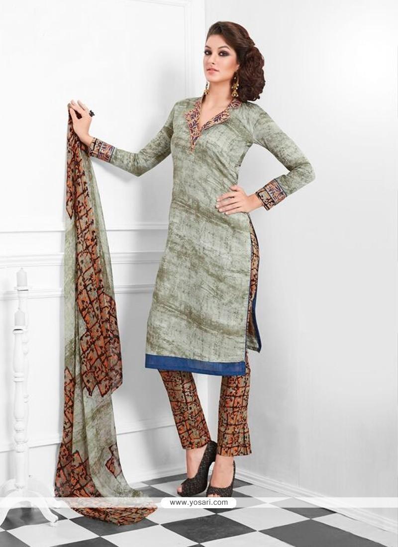 Spellbinding Cotton Brown Designer Suit