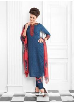 Aspiring Print Work Cotton Designer Suit