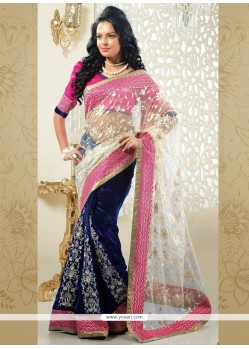 Blue And Off White Net Designer Saree
