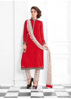 Desirable Red Print Work Cotton Designer Suit