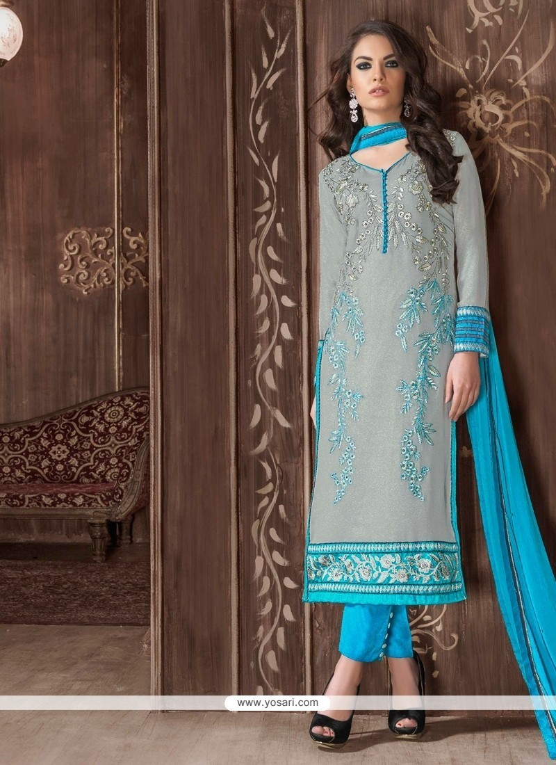 Lovely Georgette Turquoise Patch Border Work Designer Suit