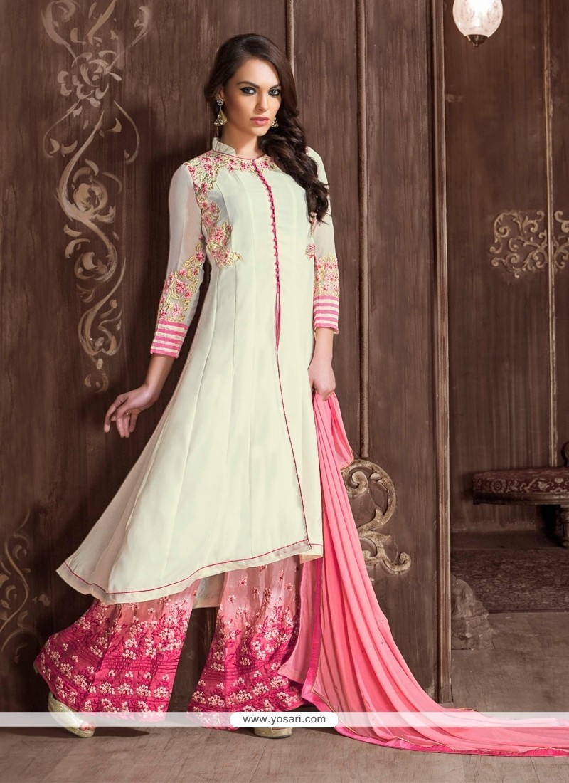 Snazzy Georgette Off White And Pink Embroidered Work Designer Suit