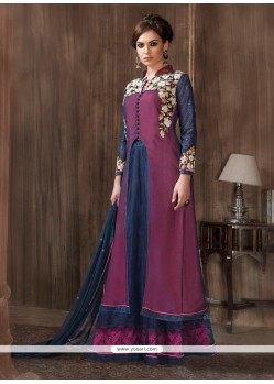 Distinctive Navy Blue And Pink Embroidered Work Designer Suit