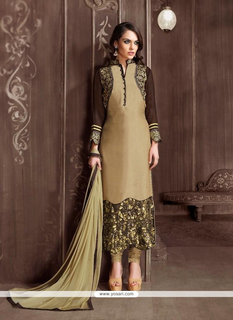 Competent Embroidered Work Velvet Beige Designer Suit