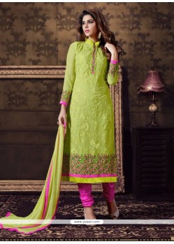 Talismanic Georgette Embroidered Work Churidar Designer Suit